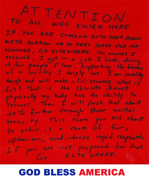 "Letter written by Navy Seal Lieutenant ""J"" written during his hospital stay while recovering from his wounds."