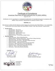 Certificate of Compliance for the American Recovery & Reinvestment Act of 2009 (ARRA), for our needle and manifold valves
