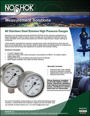 All Stainless Steel Extreme High Pressure Gauges