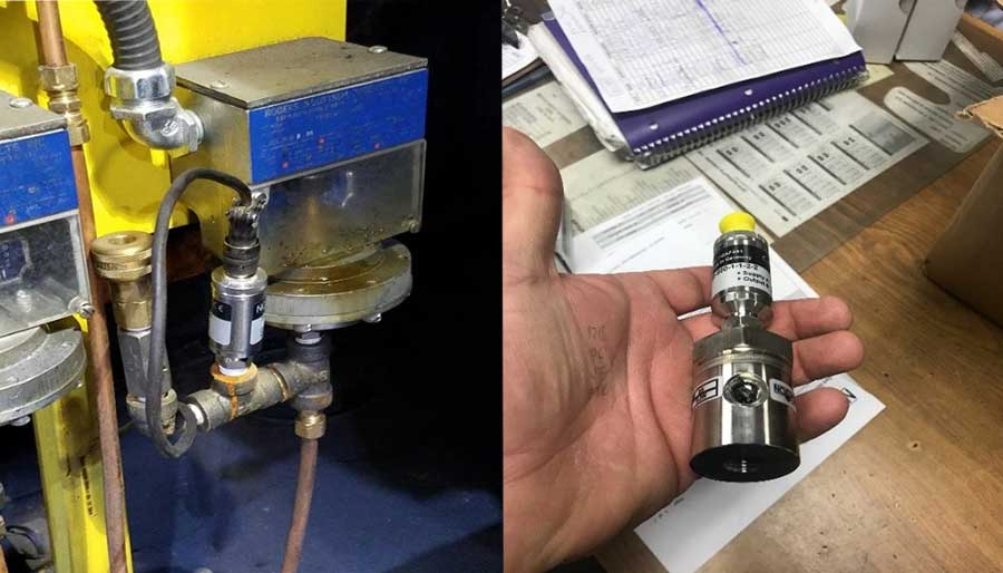 Left: Problem - Corrosion on process connection Right: Solution - NOSHOK transmitter with protective diaphragm seal