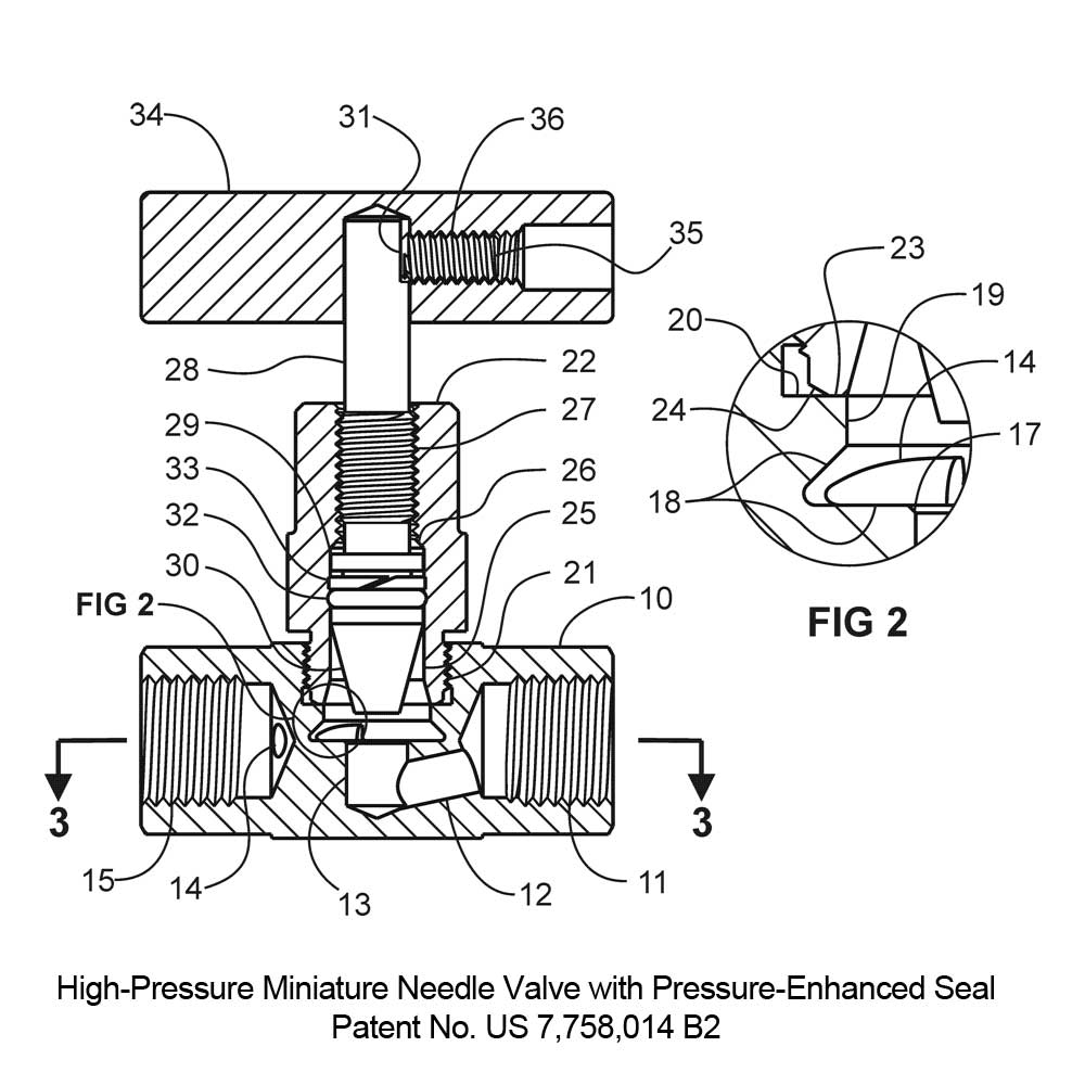 High-pressure Miniature Needle Valve with Pressure-enhanced Seal