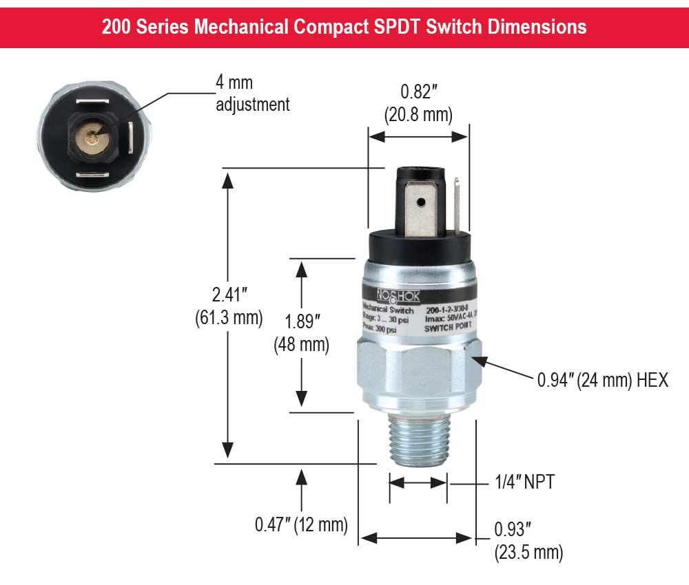 5000 psi SPDT 1//4 NPT Male 150-425 psi Pressure Range NOSHOK 200 Series Zinc Plated Steel Compact Mechanical Pressure Switch