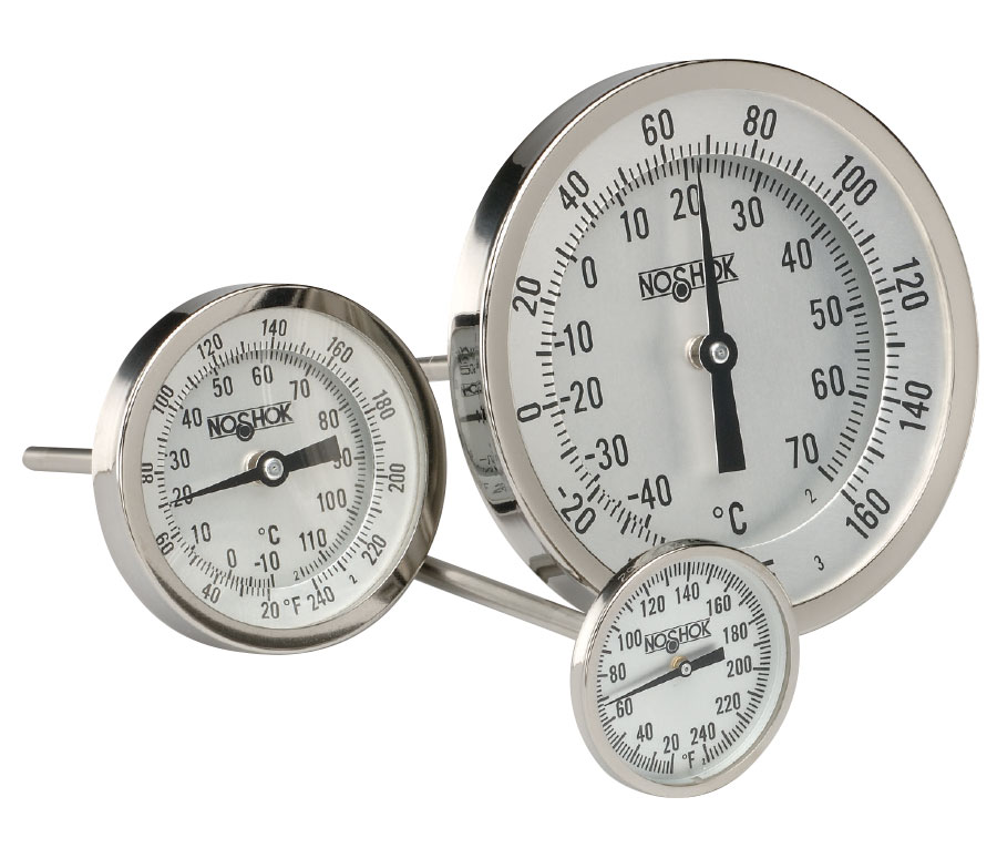 0-250 F Temperature Range 6 Stem 1//4 NPT Connection 2 Dial NOSHOK 100 Series 304 Stainless Steel Dual Scale Bi Metal Thermometer with Back Mount