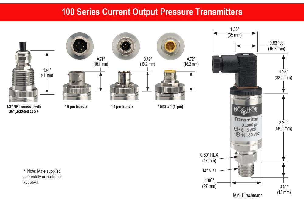 100 series current output pressure transmitters dimensions
